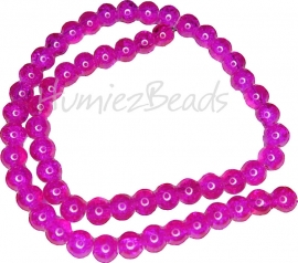 00027 Glaskraal crackle streng ±40cm Fuchsia 8mm 1 streng