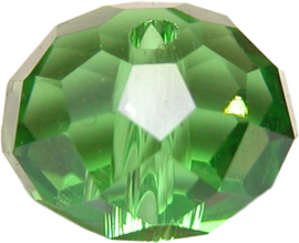 01574 Glaskraal imitatie swarovski Light emerald ab 8mmx10mm 6 stuks