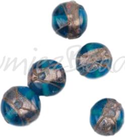 04211 Handgemaakte glaskraal Ovaal Blauw 10mmx12mm; gat 1mm 5 stuks