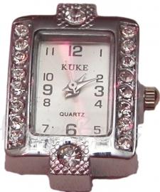 02223 Horloge bling Metaalkleurig/Chrystal 29mmx22mm 1 stuks