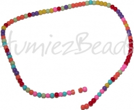 01120 Glaskraal rond streng ±40cm Mix color 4mm 1 streng