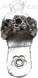 00610 Bedel slipper Antiek zilver (Nikkel vrij) 23mmx10mm