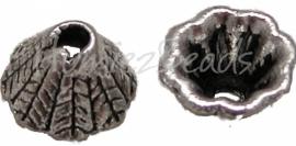 01453 Kralenkap bladnerf Antiek zilver (nikkelvrij) 5mmx8mm 11 stuks
