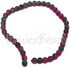 03405 Glaskraal streng (±30cm) crackle Groen/roze 10mm 1 streng