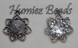 03055 Bedel bloem Antiek zilver (Nickel vrij) 25mmx22mm