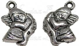 00463 Metallook bedel engel love Antiek zilver 15mmx12mm