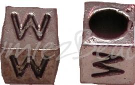 01175 Vierkante letterkraal W Antiek zilver
