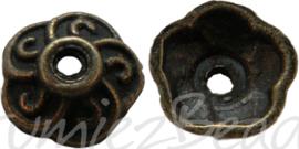 00860 Kralenkap Haakjes Antiek brons (Nikkelvrij) 9mmx3mm 15 stuks