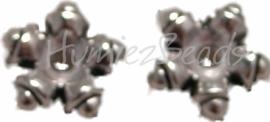 00274 Spacer daisy dotted Antiek zilver (Nikkel vrij) 20 stuks