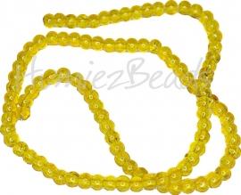 02117 Glaskraal crackle streng ±40cm Geel 4mm; gat 0,5mm 1 streng