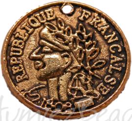 01002 Bedel munt Antiek goud 15mm 11 stuks