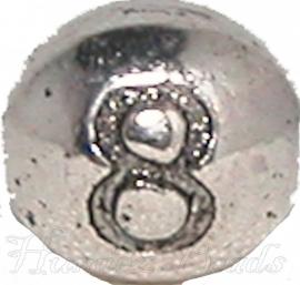 03174 Metalen kraal cijfer 8 Antiek zilver (Nickel vrij) 7mmx6mm; gat 1mm 1 stuks