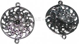 02084 Tussenstuk rond open Antiek zilver (Nickel vrij) 39mmx31mm