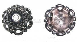 00746 Kralenkap hoed Antiek zilver (Nikkel vrij) 12mmx7mm; gat 1,5mm 7 stuks