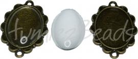 00786 Tussenzetsel met cabochon Antiek brons/transparant 1 set