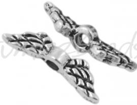 00553 Spacer vleugel Antiek zilver (Nikkelvrij) 12mmx3mm; gat 1,5mm 11 stuks