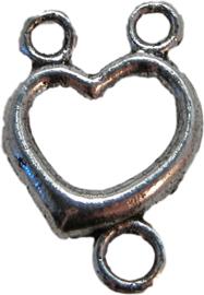 01398 Tussenstuk hart Antiek zilver 4 stuks