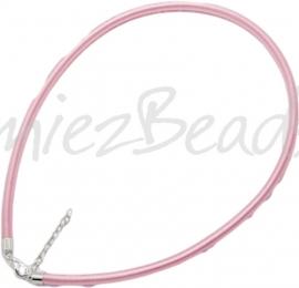 Silk-5004 Ketting Zijde koord Roze ±45cm (Zonder verlengketting) 1 stuks