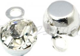 00559 Hanger rhinestone Metaalkleurig/clear 6,5mmx4mmx3,5mm