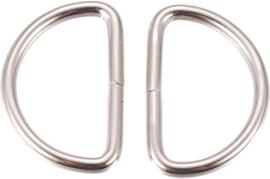 00962 Ringetjes D-ring Metaalkleurig 21,5mmx31,5mmx3mm; gat 15mmx25mm 5 stuks