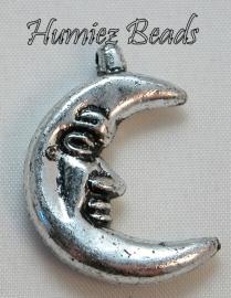 02801 Metallook bedel maan Antiek zilver  30mmx21mm