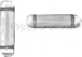 02821 Tsjechische glaskraal Transparant 25mmx6mm; 2 gaats van links naar rechts 3 stuks