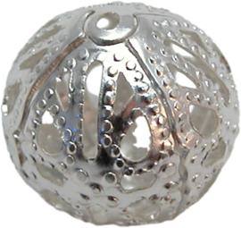 01763 Kraal filigraan Zilver 14mm 11 stuks