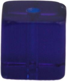 01223 Glaskraal vierkant Blauw 8mm 1 streng (±30cm)