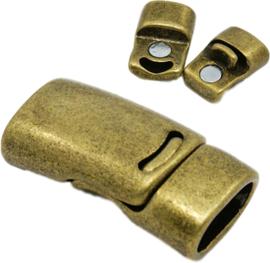 04460 Magneetslot  Antiek brons (Nikkelvrij) 26mmx13mmx8mm; Gat 10mmx5mm 1 stuks