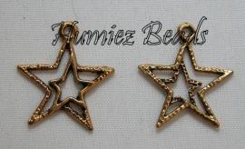 02971 Bedel ster in ster Antiek goud (Nickel vrij) 23mmx20mm