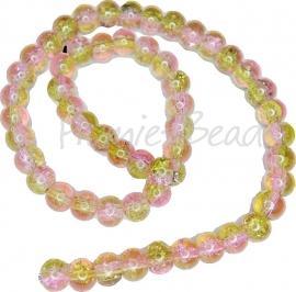 01664 Glaskraal crackle streng ±40cm Groen-roze 8mm 1 streng