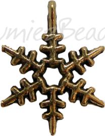 01736 Bedel sneeuwvlok Antiek goud (nikkelvrij) 24mmx21mm