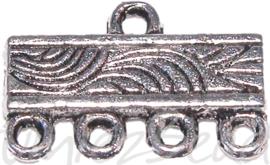 01029 Verdeler 4-1 rings Antiek zilver (Nikkelvrij) 16mmx10mm 6 stuks
