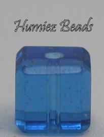 02748 Glaskraal vierkant facet geslepen Blauw 8mm 10 stuks