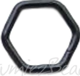 04129 Ringetjes 6-hoekig Zwart (Nikkelvrij) 7mmx0,7mm ±50 stuks