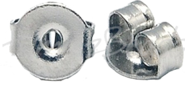 02199 Oorbelachterkantjes Stainless steel Metaalkleurig 5mmx4mmx2.5mm; gat 1mm 20 stuks