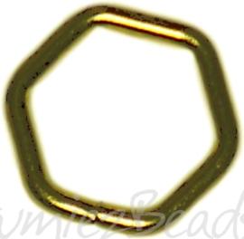04119 Ringetjes 6-hoekig Goudkleurig (Nikkelvrij) 7mmx0,7mm ±50 stuks