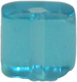 01812 Glaskraal vierkant Licht blauw 4mm 1 streng (±30cm)