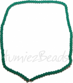 03449 Glaskraal streng (±30cm) imitatie jade Blauw-groen 4mm 1 streng