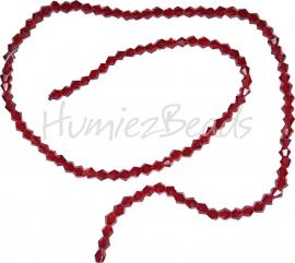 03985 Glaskraal imitatie swarovski Bicone streng ±40cm dark red 4mm  1 streng