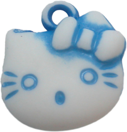 01957 Bedel Hello Kitty acryl Blauw/wit 20mmx18mm