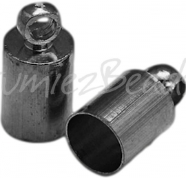 01841 Endkappe glatt Schwarz Nickelfarbe 10mmx5mm; loch 4mm 4 stück