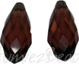 04360 Glaskraal druppel Roze 10mmx20mm; gat 1mm 2 stuks