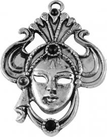 02767 Hanger Venetiaans masker Zilverkleurig (Nickel vrij) 61mmx4mm 1 stuks