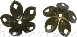 00826 Kralenkap filigraan Antiek brons (Nikkelvrij) 18mmx8mm; gat 2mm 12 stuks