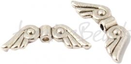 01617  Spacer vleugel  Antiek zilver (Nickel vrij)  8mmx21mmx3mm; gat 1mm