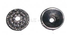 00666 Kralenkap bobbels Antiek zilver (Nikkel vrij) 10mmx3mm 11 stuks