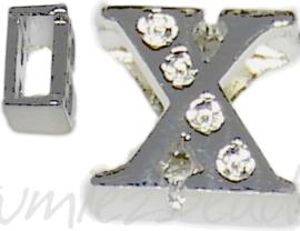04259 Schuifkraal Letter X Metaalkleurig (Nikkelvrij) 9mmx10mm; gat 6,5mmx3,5mm 1 stuks