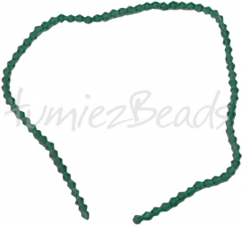 03212 Glaskraal Imitatie swarovski bicone groen 4mm 1 streng (±30cm)