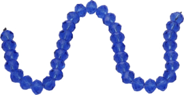01424 Glaskraal imitatie swarovski faceted Abacus streng (±20cm) Blauw 7mmx10mm 1 streng